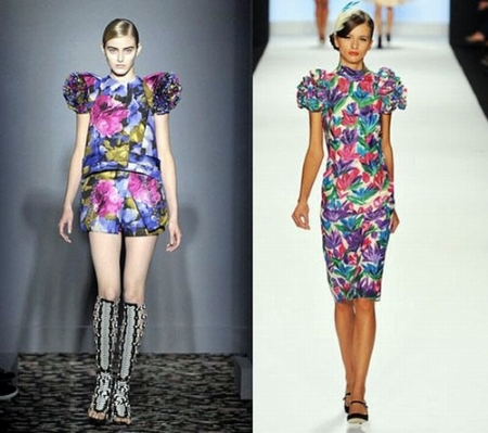 Floral print, puff sleeves...hmmm... but the ruched sides of the sleeves? Fishy.